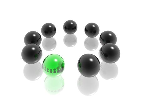 different shapes: group of glass spheres with different element Stock Photo