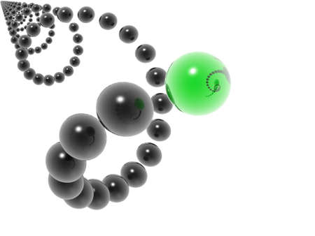 3D black helix and green element photo
