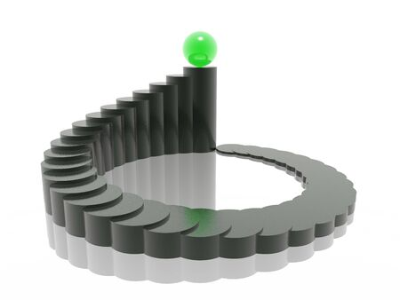 spiral staircase: 3D harmony chart with winner ball Stock Photo