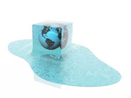 global warming (globe in ice cube) photo