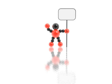 3D man with blank banner photo