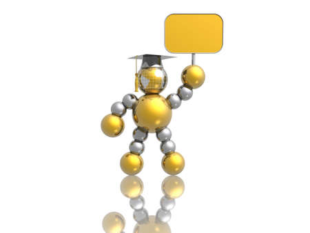 3D graduate with empty banner (high resolution 3d image) photo