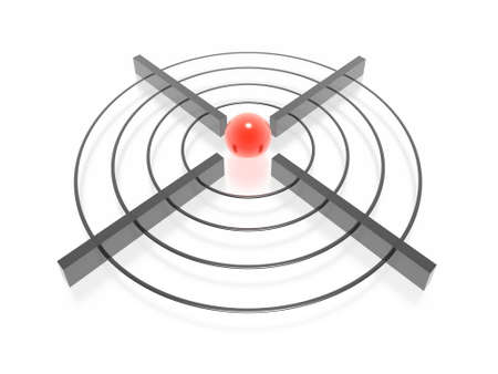 3d target with green sphere Stock Photo