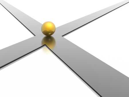 3d crossroad with gold ball Stock Photo