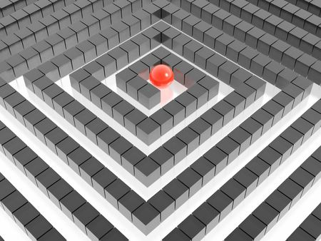 3d labyrinth and red sphere photo