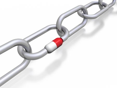roped: chain & pill (high resolution 3D image)