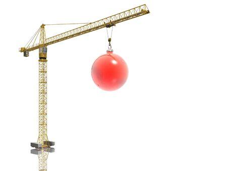 christmas ball and crane Stock Photo