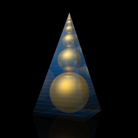 ratio: pyramid and golden ratio spheres (magic pyramid by A.Golod)