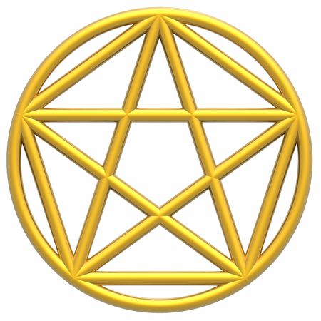 golden section: Pentagram & Golden Ratio (high resolution 3D illustration)