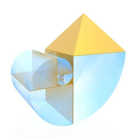 golden ratio: n�mero �ureo (de alta resoluci�n en 3D ilustraci�n)  Foto de archivo