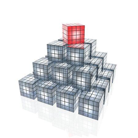 Pyramide de cubes 3D  Banque d'images