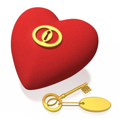 red fabric heart and golden key (high resolution) photo