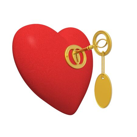 red fabric heart and golden key (high resolution) Stock Photo