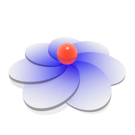 red sphere on blue flower photo