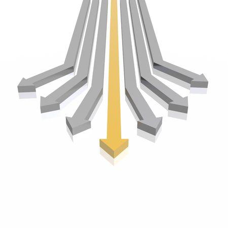 metalic design: 3D arrows (high resolution 3D image) Stock Photo