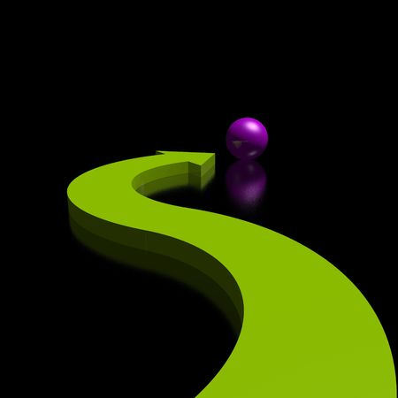 swerve: 3D green arrow and violet sphere (high resolution)