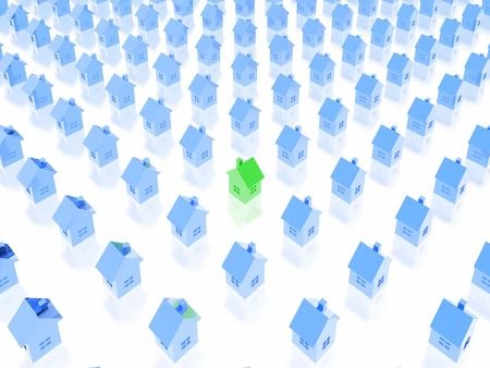 multiple house: real estate background (green and blue set)