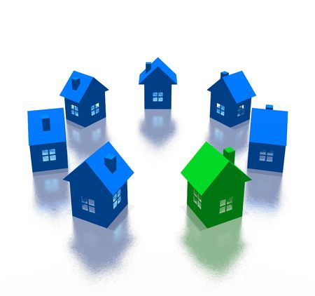 different house (3d high resolution image) Stock Photo