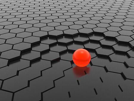 red sphere on hexagon mesh