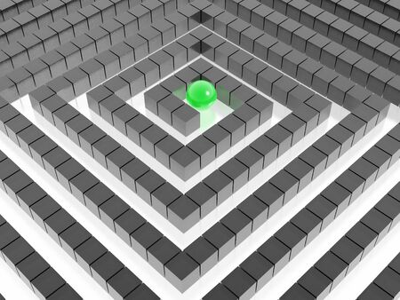 3d labyrinth and green sphere photo