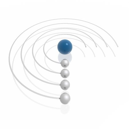 orbiting: orbiting spheres (blue and silver series) Stock Photo