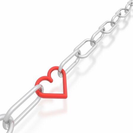 shackled: cadena de plata y rojo coraz�n Foto de archivo