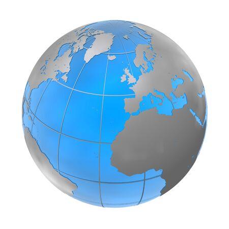 globe bleu-argent