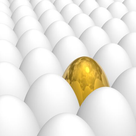 golden egg among white eggs with natural shell texture Stock Photo