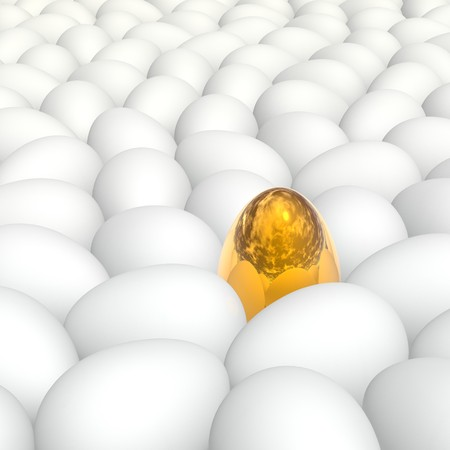 1 and crowd: golden egg among white eggs with natural shell texture Stock Photo