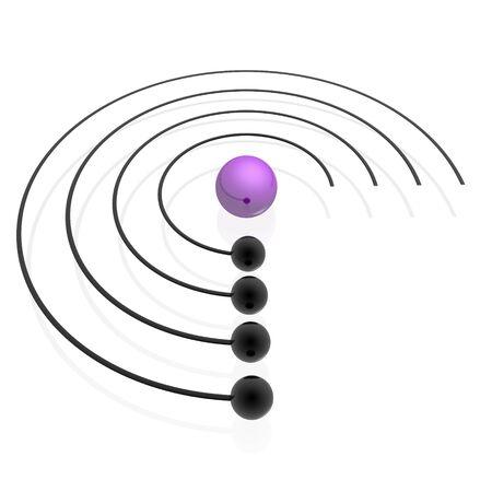 orbiting: orbiting spheres (violet set) Stock Photo