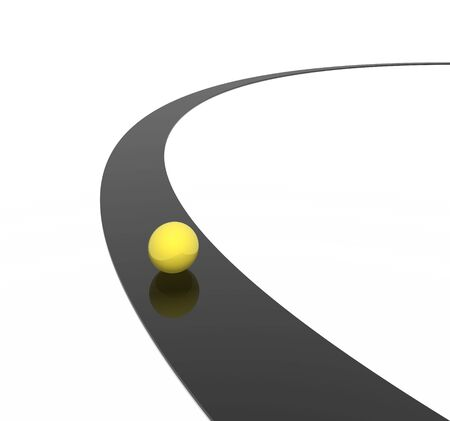 curve road: yellow sphere and black way