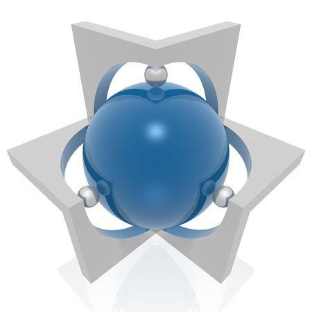 hexagram: absract 3d symbol
