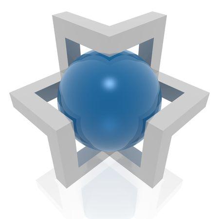 estrella de david: signo abstracto de 3d