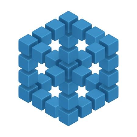 david: cubes hexagon 3d optical illusion Stock Photo