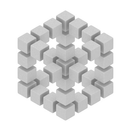 Paradoks: kostki sześciokątnej 3d złudzenie optyczne