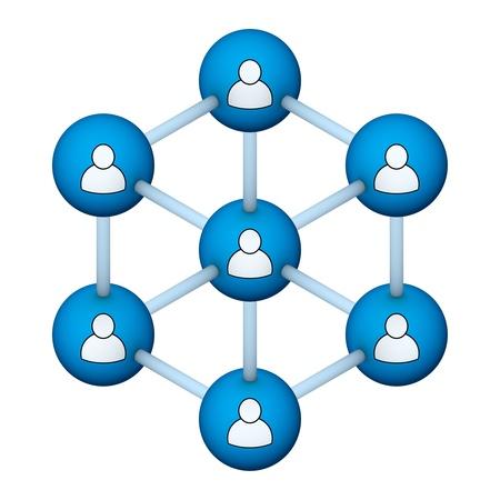 3d circle: social network 3d symbol