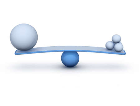 poise: two spheres on seesaw balance concept