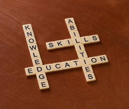 Kruiswoordpuzzel met woorden Vaardigheden, capaciteiten, kennis en opleiding. Leren concept. Ivoorkleurige tegels met hoofdletters op mahoniehouten plank. Stockfoto