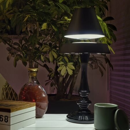 Floating Shade Lamp in an Ambient Vintage Environment Stock Photo