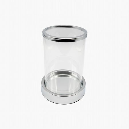 A glass cylinder lanterns my chrome-colored base, cut out on white background Stok Fotoğraf