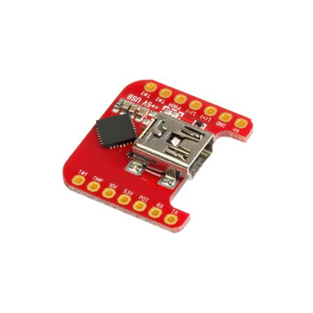 Red universal USB to TTL PCB board surface mount components in a close-up side view