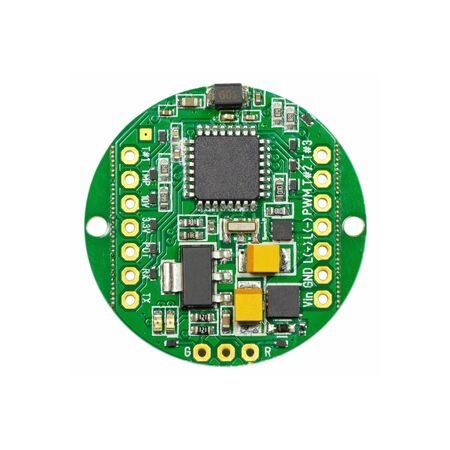 Green round led pulse width modulation dimmer PCB board surface mount components in a close-up top view