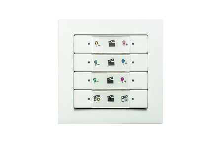 A white radio wall switch with different light scenarios, white background