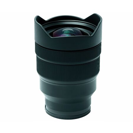 A modern photo zoom lens from the side