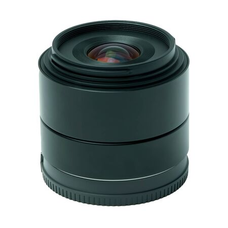 A modern prime photo lens from the side Imagens