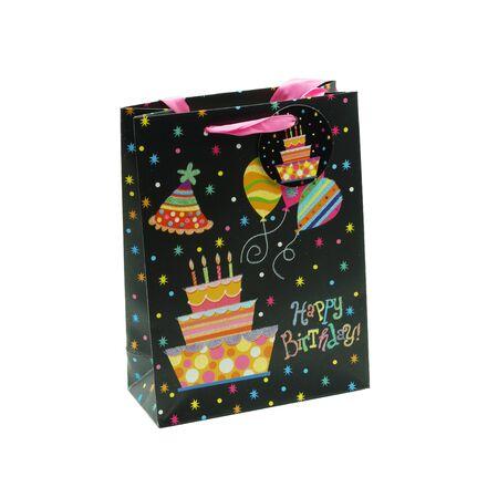 Black birthday bag with a colorful print Stok Fotoğraf - 150235557