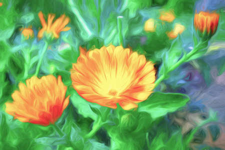 An abstract painting of colorful flowers in a meadow