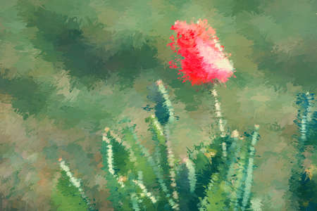 An abstract painting of a tulip on the green meadow Stok Fotoğraf