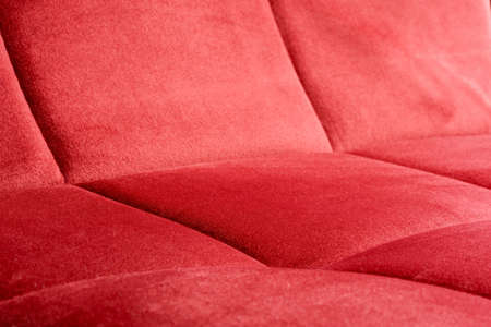 Close-up of a red velvety upholstery fabric Stok Fotoğraf - 152172955