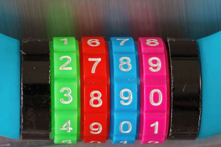 Close up of a colorful combination lock and their numbers Stok Fotoğraf